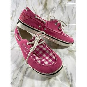 CROCS Gingham Tie Slip On Boat Shoes